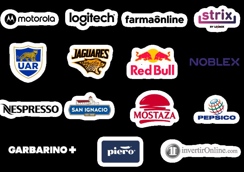 logos de marcas que confian en nosotros, motorola, logitech, farmaonline, uar, jaguares, redbull, noblex, nespresso, san ignacio, mostaza, pepsico, garbarino, piero, invertironline